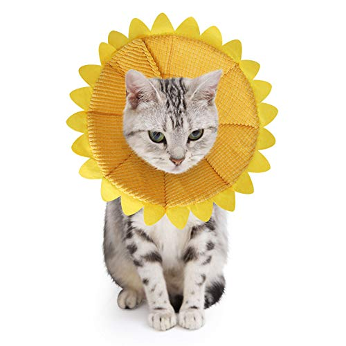 SLSON Cat Recovery Collar Soft Pet Cone Collar Protective for After Surgery Cotton Adjustable Fasteners Collar for Cat and Puppy, Yellow (S)