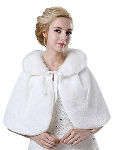 Lifup Damen Brautzusatz Stola Winter Warme Kunstpelz Poncho Hochzeit Abend Kap Weiß Einheitsgröße