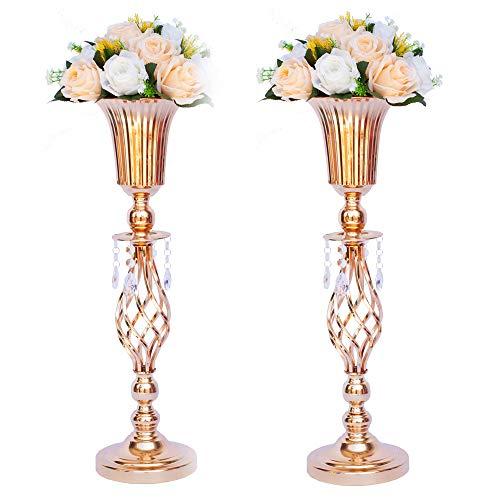 LANLONG Lot de 2 centres de table de mariage en métal pour table de réception, support de vase de fleurs dorées, décoration de base pour fête, événement, anniversaire, , couleur, 2X51cm