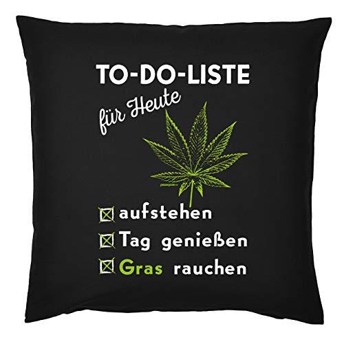 TITAGU Cannabis/Sprüche Kissen inkl. Füllung mit Hanfblatt-Aufdruck: to-Do-Liste für Heute aufstehen Tag genießen Gras Rauchen