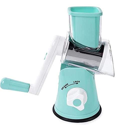 tJexePYK Queso del rallador rotativo máquina de Cortar Vegetal 3 EN 1 effiently Queso Amoladora para Hortalizas Fruit Cocina Lavavajillas Azul Segura
