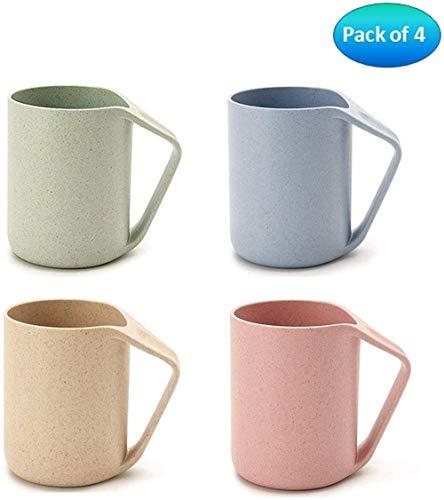 Clkdasjd Wasser Kaffee Milch Saft Tee Spülbecher, 4er Pack, 400ml mit Griff