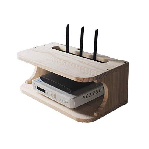 IUHUA TV Set-Top Box Rack Montado en la Pared Madera Maciza Inalámbrico WiFi Router Estante Pared Dormitorio Caja de Almacenamiento de Doble Capa