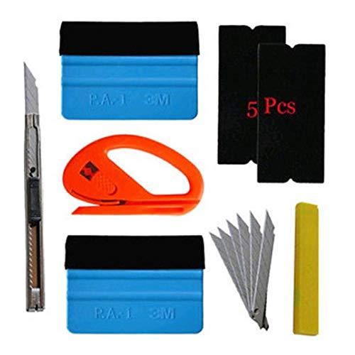 Rubyu 5Pcs Auto Folien Set Folierung Werkzeuge Set mit Micro Rakel Wasserabzieher Folienrakel Glasschaber Flächenspachtel für Autofolierung Car Wrapping