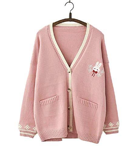 GK-O Mori Girl Kawaii Rabbit Japan JK Uniform Knit Cardigan Sweater Girl School Cosplay Sweater (Pink)