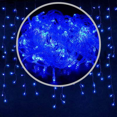 Decorative night light Christmas lights led curtain icicle string lights 5M droop 0.4-0.6m waterfall outdoor decoration for party garden home wedding ( Emitting Color : Blue , Wattage : 220V EU Plug )