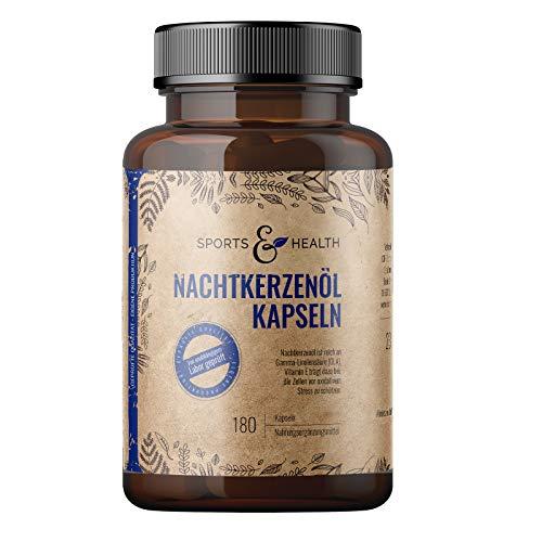 Nachtkerzenöl Kapseln - 180 Kapseln Hochdosiert 2000mg pro Tagesdosierung - Mit natürlichem Vitamin E - Nachtkerzenöl Kapseln für die Haut