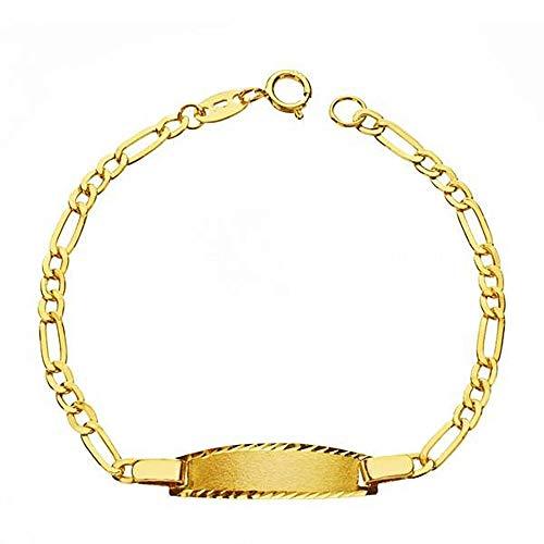 Esclava pulsera oro 9k bebé 14cm. eslabón alterno 3x1 hueca cierre reasa - Personalizable - GRABACIÓN INCLUIDA EN EL PRECIO