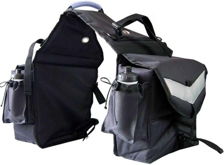Intrepid International Insulated Saddle Bag with Water Bottles, Black