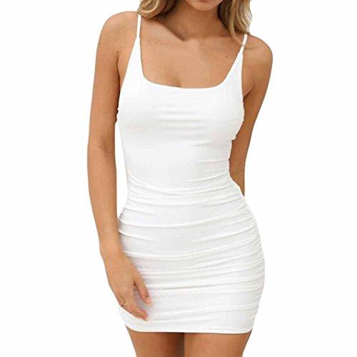 Dam sexig linne bodycon smal ärmlös ledig miniklänning mode ledig solid rak sexig klänning, Vitt, S