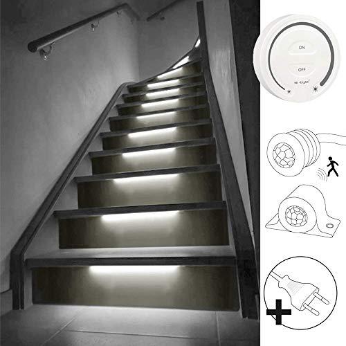 LED Treppenstufenbeleuchtung mit Bewegungsmelder| Hellweiß/Neutralweißes Licht 4000K | Komplettset für 15 Stufen | kabelloser Touch Wandpaneel