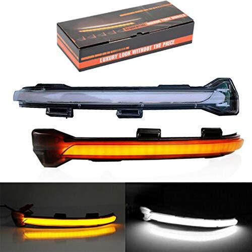 Dynamische LED-Blinkerlicht-Spiegelanzeige mit Abtastgradientenlicht für Golf 7 MK7 GTI R GTE GTD Transparente Schale (Yellow+White)