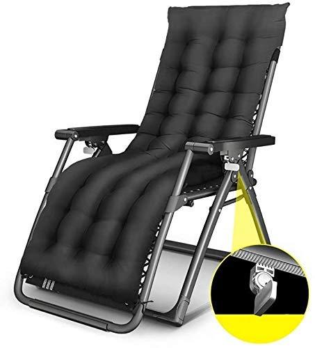 TGTGH Tumbona de jardín plegable tumbona reclinable para el jardín, al aire libre, tumbona plegable de gravedad cero sillón reclinable, soporta hasta 200 kg (color, negro b), negro a