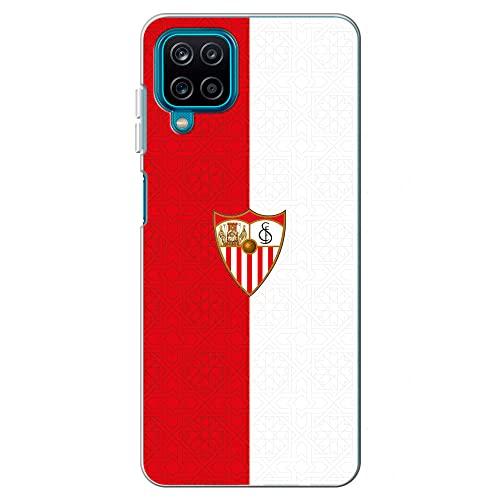 Movilshop Funda para [ Samsung Galaxy A12 / M12 ] Sevilla FC [Rojiblanco Escudo Color] Licencia Oficial de Silicona Flexible Transparente Carcasa Case Cover Gel para Smartphone.