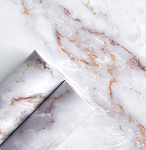 """Marble Paper Matte Removable Peel and Stick Wallpaper Self Adhesive Decorative Granite Vinyl Film Waterproof Roll for Countertop Bathroom 23.6""""×118"""" Thick, Easy to Clean & Install Gold/White"""