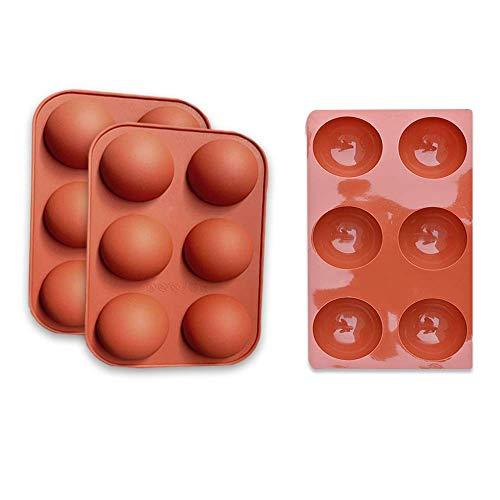 Halbkugel-Silikonform, Mittlere Hemisphere Bonbon- & Schokoladenformen mit 6 Hohlräumen, 3 Packungen Backform zur Herstellung von Schokolade, Kuchen, Gelee, Dome-Mousse