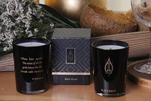 Driada Black Moon Poema W.Shakespeare Negro Oro,Vela Perfumada/Aromática, Vaso de Vidrio, para Regalo, Decoración y Hogar