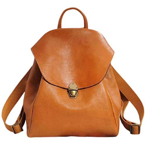 Sonline Retro First Layer Kuhleder Rucksack Lady Reisetasche Gro?E Kapazit?T Mode Weibliche Handtasche-Gelb