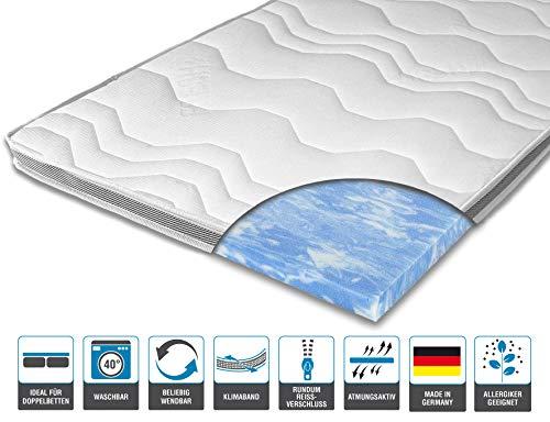 ARBD Matratzenauflage - Topper | Modelle mit 7-12cm Gesamthöhe | waschbarer Bezug mit 3D-Mesh-Klimaband (H2-7 cm, 90 x 200 cm)