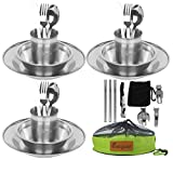 Bisgear 27pcs Stainless Steel Tableware Mess Kit Includes Plate Bowl Cup Spoon Fork Knife Chopsticks Carabiner Wine Opener Dishcloth & Mesh Travel Bag for Camping Backpacking for 3 Person
