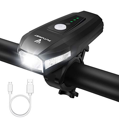 FUTURIST StVZO Zugelassen LED Fahrradbeleuchtung, Fahrradlicht USB Aufladbar Akku, Wasserdicht Fahrradlampe, Super Helle Bike Light, Rennrad Licht 1800mAh, Bicycle Light mit Batterieanzeige