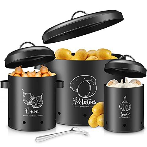 Edelwald - Vorratsbehälter Set inkl. Sparschäler - Ideal als Kartoffeltopf, Zwiebeltopf und Knoblauchtopf geeignet - Hält Dein Gemüse länger frisch und überzeugt durch hochwertige Qualität