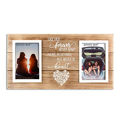 VILIGHT Long Distance Relationships Gifts - Going Away Couple and Bestie Picture Frame -Holds 2 4x6 Photos