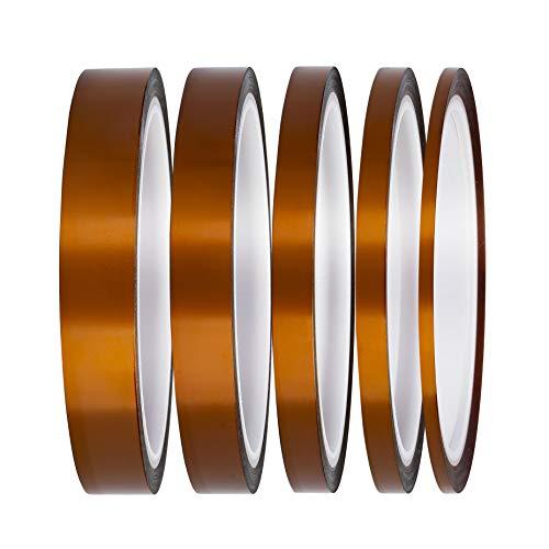 Nastro Kapton Resistente al Calore ad Alta Temperatura Polyimide con Adesivo per la Mascheratura, la Saldatura, stampante 3D,Schede di sublimazione e Isolamento-3 mm, 6 mm, 8 mm, 12 mm, 15 mm