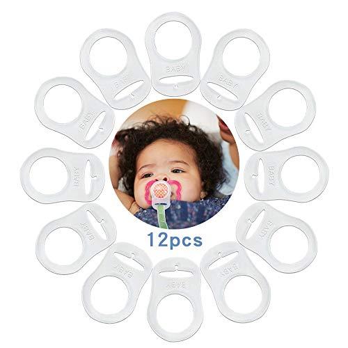 Silikonring für Schnullerkette, Silikon Schnuller Adapter, 12 Stück ohne Befestigungsring Transparent Schnuller Clips