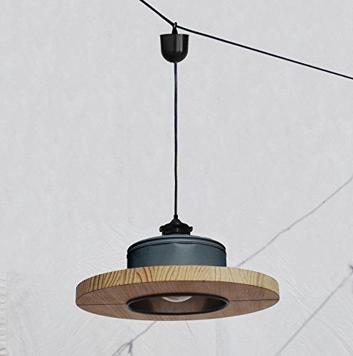 Lámpara de techo hecha a mano, en color gris antracita mate + madera de pino natural .... ECO-friendly: reciclada de latas de café!