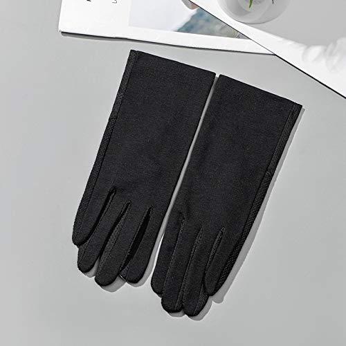Guantes de algodón de Verano para Mujer a la Moda, Guantes de conducción con Pantalla táctil UV de Punto de impresión de Color sólido, Transpirable, Antideslizante, para Mujer-Black