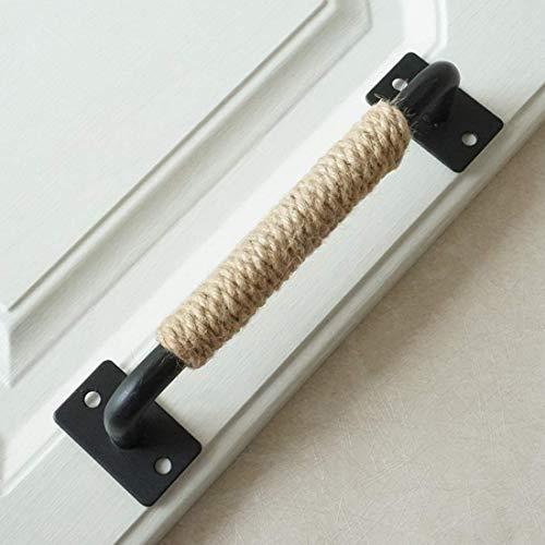 MOOD.SC7.55' 12.6' cuerda de cáñamo del gabinete de cocina Maneta del tirón Negro Puerta rústica de grandes dimensiones de Dresser arco PullsHardware 192 320 mm,7.55'holecenters