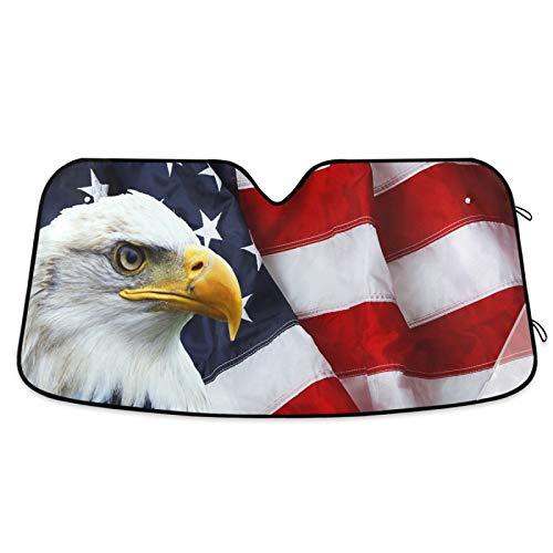 4th of July American Flag Bald Eagle Car Windshield Sun Shade, Car Sun Visor Car Front Windshield Sunshade Accordion Folding Auto Sunshade for Car Truck SUV Keep Your Vehicle Cool 55 x 28 Inch