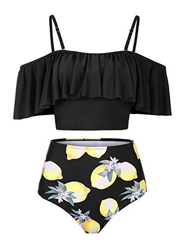 Kaei&Shi Strapless,Strappy Swimwear,Lemon High Waisted Flounce Bikini Set,Tummy Control Swimsuits for Women,Off Shoulder Bathing Suit Lemon Medium