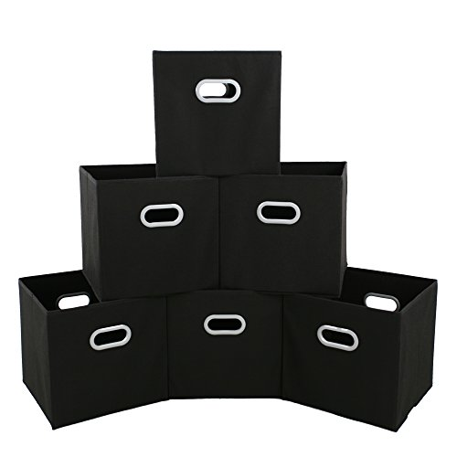 MAX Houser Fabric Cloth Storage Bins,Foldable Storage Cubes Organizer Baskets with Dual Handles for Home Bedroom Storage,Set of 6(Black)