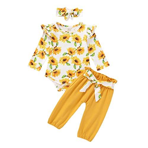 Bebé Recién Nacida 3 Piezas Conjunto Ropa para Niñas Pequeñas Top Mameluco de Manga Larga + Pantalones Largos + Diadema de Bowknot Babysuit de Otoño Invierno Primavera (Amarillo Floral, 0-3 Meses)