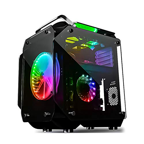 COOLMAN ミドルタワー PCケース ATX MicroATX対応 強化ガラス フルスケルトン仕様 VRゲーミング 20cm RGBファン2個付属 @NSS