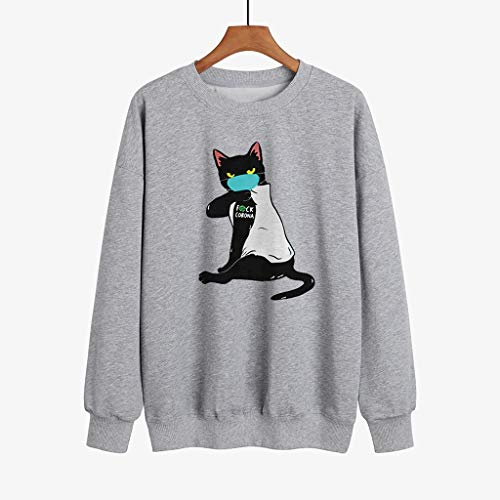 Sky Cloud Maglione della Mascherina di personalità di Divertimento, Black Cat Felpa con Stampa di E Donne degli Uomini, Tenere Lontano dalla VI-rus COV-ID 19 Felpa (Color : Gray, Size : S)