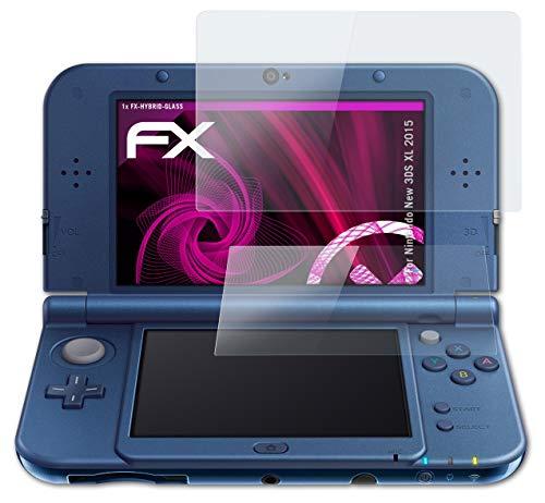 atFoliX Lámina Protectora de plástico Cristal compatible con Nintendo New 3DS XL 2015 Película Vidrio, 9H Hybrid-Glass FX Protector Pantalla Vidrio templado de plástico (Set de 1)