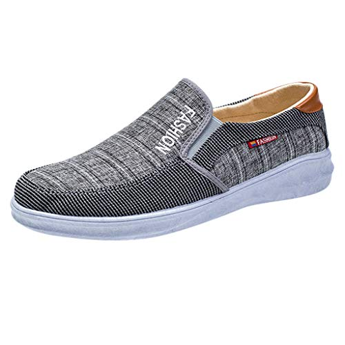 Goddessvan 2019 Men Outdoor Canvas Casual Slip-On Shoes Lazy Cotton Shoes Breathable Sneakers Gray