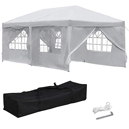 Yaheetech 10x20 ft Outdoor Pop Up Canopy Tent Easy Up Instant Folding Party Wedding Canopy Tent with 6 Removable Sidewalls White