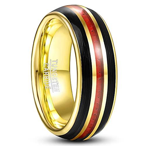 Corato Aparejo de carburo de tungsteno de 8 mm, con cuerda negra y fibra de carbono roja, curvado y pulido, tamaño 54-67