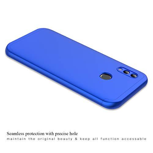 Winhoo Kompatibel mit Huawei Honor 10 Lite Hülle Hardcase 3 in 1 Handyhülle 360 Grad Schutz Ultra Dünn Slim Hard Full Body Case Cover Backcover Schutzhülle Bumper - Blau - 5