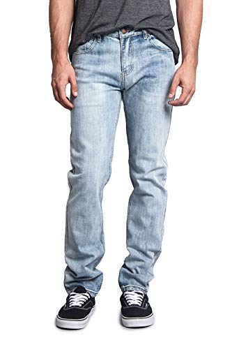 Victorious Men's Skinny Slim Fit Stretch Raw Denim Jeans DL1004 - Blue Sky - 30/30 - DNM
