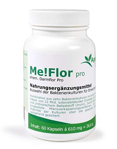 Agenki Me!Flor pro - 60 magensaftresistente Kapseln - Darmbakterien - 22 Mrd koloniebildende Einheiten (KBE) pro Kapsel - mit Inulin – Gluten- und Lactosefrei - in Deutschland produziert