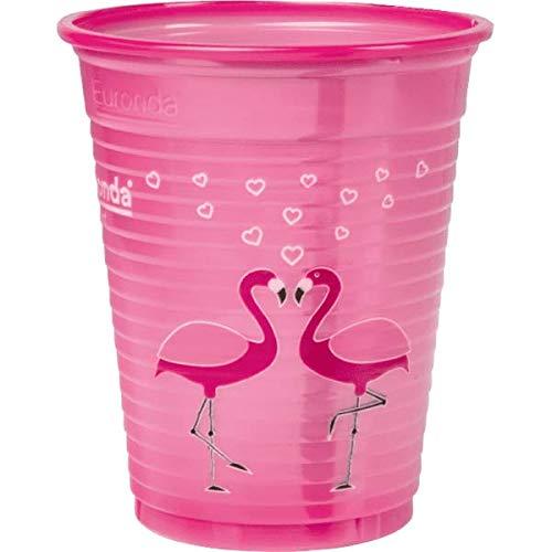 MONOART 50 Stück Becher Flamingo, Einwegbecher Pink, Rosa Plastikbecher, Trinkbecher, Kunststoff, Einweg 0,18 Liter