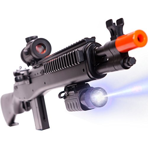 CifToys M305P Airsoft Gun, BB Gun With Scope And Flashlight, With Reloading Magazine For Up To 200 Rounds, For Gun Safety Lessons