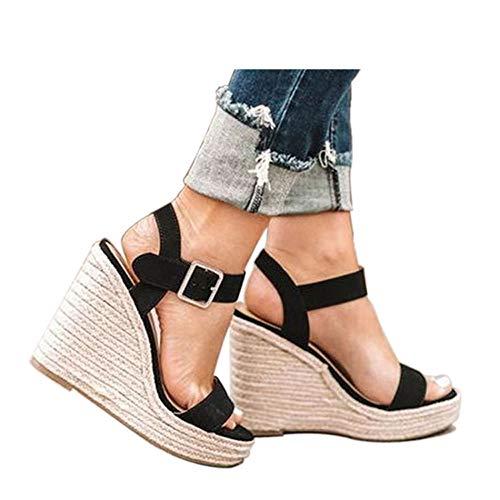 VICKI·VICKI Women s Platform Sandals Wedge Ankle Strap Open Toe Sandals Black Size 7