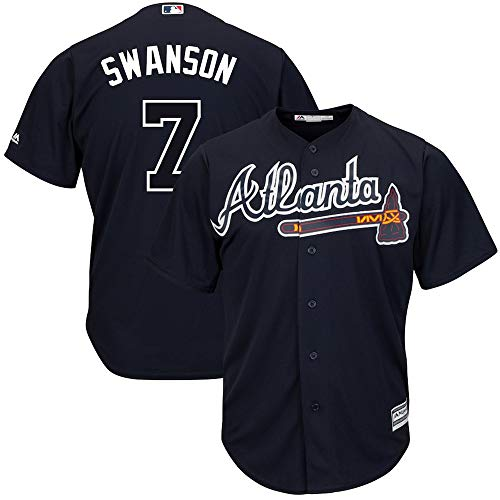 YQSB Jersey Baseball Baseball League Atlanta Braves # 7 Swanson Besticktes Baseball-Shirt,Black,Men-XXL