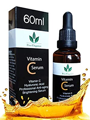 Vitamin C Serum for Face & under eyes 20% 60ml with Hyaluronic Acid Vitamin E for Anti-wrinkle Anti aging Dark Circles Fine Lines Acne Sun damaged Skin from Pro-elegance